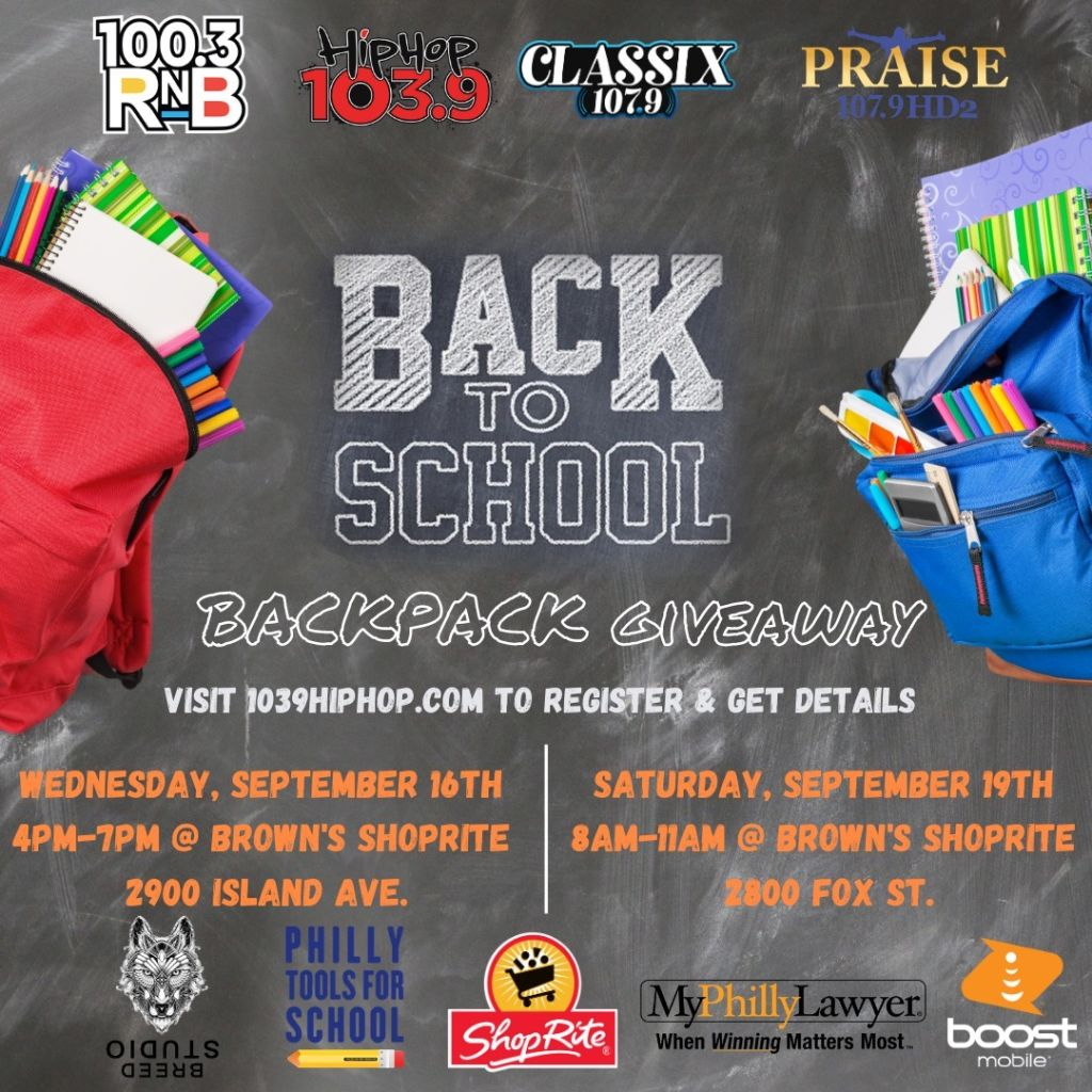 Radio One Philly Backpack Giveaway September 19th